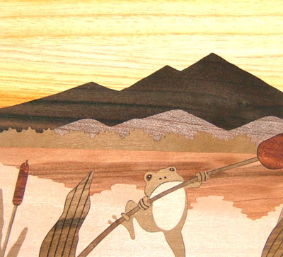 Wooden Inlay of Mt. Tsukuba by Sadao Takahashi