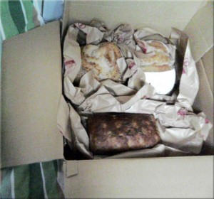 The delivered package from the bread shop