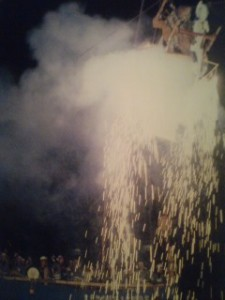 Tsunabi Puppets above the sparks and smoke