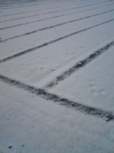 April 17th 2010- Snow-covered field ( with rabbit tracks) in Konda, Tsukuba