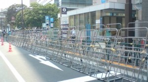 A better look at this year`s barriers- Much more effective than the usual traffic cones and plastic poles!