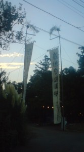 The banners set up outside the entrance to the O-Washi Shrine for that night`s MATSURI (festival)- Sept. 13th 2010