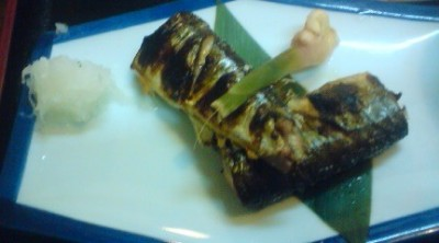 Grilled sanma served without heads or tails ( quite rare!) with a dab of grated radish and a sprig of ginger