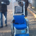 One of the many robots entered in the race which make use of a wheel-chair