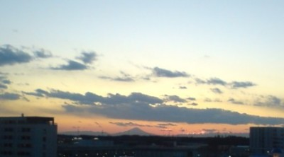 Mt Fuji from the roof of IIAS at 4:40pm on December 29th 2010. With the naked eye the scene was much more impressive that this cell phone camera image