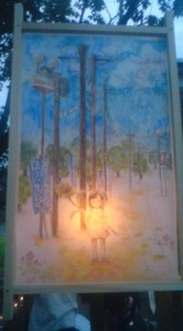 A paper lantern illustrated by local schoolchildren for the TAKI TARO MANDO event in Hojo on Aug. 7th