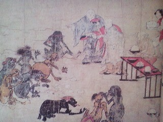 Buddhist priests feeding GAKI as depicted in a 12th picture scroll called the GAKI SO-SHI. Similar ceremonies without visible GAKI!) are held at the end of August each year in Japan. I usually attend the one held on the 28th at the old Fudo Hall in Maeno Tsukuba