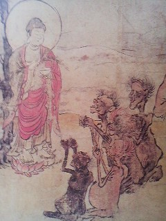 Gaki suffering from unendurable thirst beseech a Buddha for relief