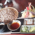 The tempura soba set at MAI-IE made with spring water from GASSAN in Yamagata Prefecture - 1,500 Yen
