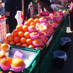 Vendors selling a variety of Ibaraki`s citrus fruit