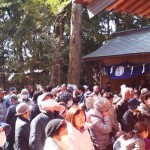 Just before noon a large crowd had gathered in front of the Iina Jinja Shrine waiting for the good luck MOCHI (rice cake) throwing event