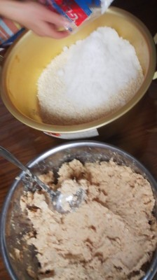 After the soy beans have been mashed- in another bowl, salt and KOJI ( fermenting agent made from rice) is blended