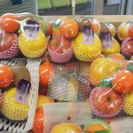 At a supermarket in Hojo, Tsukuba- fruit sets to be used as offerings at family graves for O-Higan