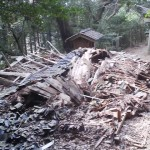 On a walk up to the shrine today ( March 26th 2012) I found that one of the shrine`s old neglected structures had collapsed!