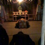 Praying for abundant silk production at Kokage-San Jinja Shrine`s March 28th ritual