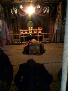 Praying for abundant silk production at Kokage-San Jinja Shrine`s March 28th ritual