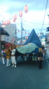 The unique triangular float used in Hojo`s Gion Festival will be on display near the Yasaka Jinja (in Hojo) though the festival it self has been cancelled due to the recent killer tornado