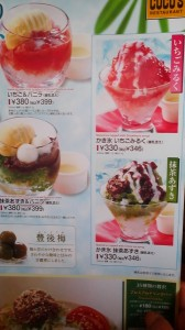 Some of the different types of KAKIGO-RI (shaved ice) which can be found on the summer menu at Cocos Restaurants in Tsukuba