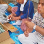 Making the Ryusui Fireworks (Sept. 9th 2012)- taping the launchers ( made from shotgun shells) to plant stems