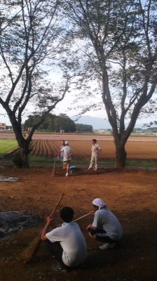 Local residents clear the grounds of the Fukuju Kannon Ji Temple on the day of the festival ( note the Kashima Shrine`s torii gate off in the distance)