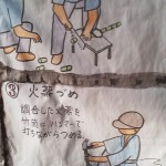 A hand-made poster hanging on the temple`s hall illustrates how the Hakke Ryusui Hanabi used to be made