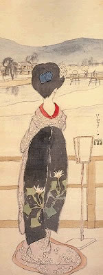 Another woman with SLOPING SHOULDERS by Yumeji
