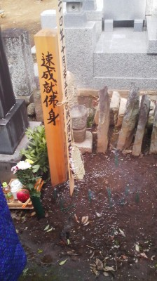 The straw sandals with the BOTA MOCHI (sticky rice and adzuki bean paste) between them dangle over a 35 day old grave