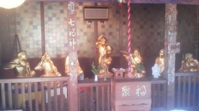 Shichifukujin statues the Sansui-tei Restaurant in Tsukuba