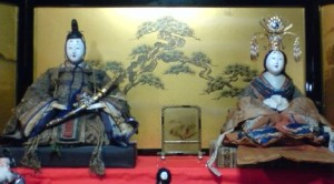 A pair of antique Hina Dolls (from the 19th century) on display at an old shop which in makabe