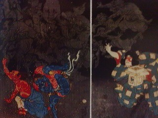 An Edo Period print showing demon being repelled by a bean throwing Momo Taro (Peach Boy)- for the ancient Japanese (as influenced by China, the wood of the peach tree was effective in driving off evil.)