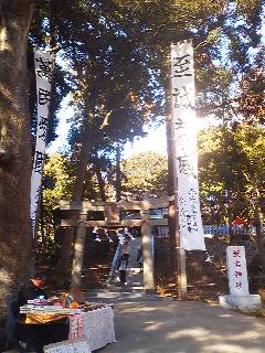 Large white banners reading: Money Goes-Money Comes!* are raised on the day of the Daruma Market at the Iina Shrine ( known affectionately as BENTEN SAMA) in Usui, Tsukuba.