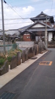 A row of old sacred stones in Oda, Tsukuba