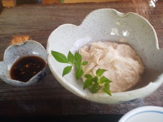 I couldn`t resist ordering soba gaki- buckwheat dumplings!