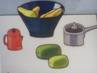 Still-life painting  at an exhibition in Tokyo featuring two wax gourds