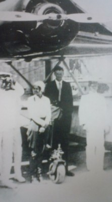 Another famous stopover in Tsuchiura on a round-the-world air voyage: Charles Lindberg and his wife.