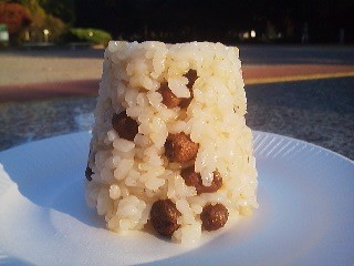 A tiny batch of MUKAGO RICE -made by putting mukago in a rice-cooker with rice,sake, salt and konbu (kelp)