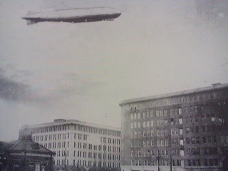 The German Zeppelin flying over Tokyo in the summer of 1929 as part of its round the world trip