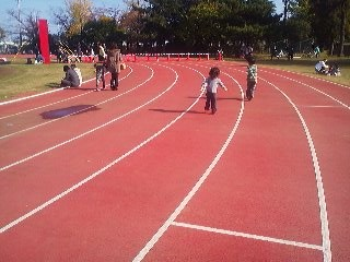 The event was held in a track and field stadium- with the food stands conveniently surrounded by a track- making it possible to run off each round of curry