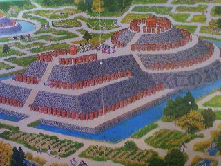 An artists rendition of what a KOFUN Burial Mound, decorated with HANIWA might have looked like- from a Japanese children`s book