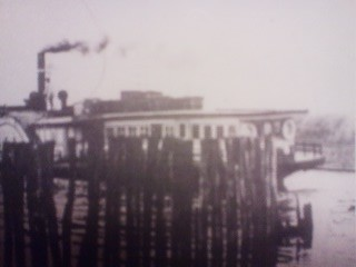 An old photo showing the TSU UN MARU (通運丸)- the steam ship which once dominated the trade of carrying passengers and cargo around Kasumigaura (in the early 20th century)
