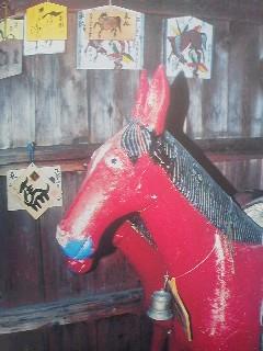 Paper mache horse in a shrine
