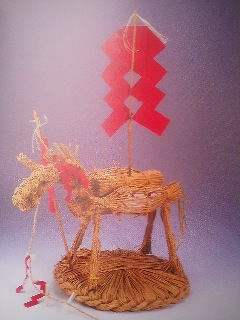 Straw horse used to ritually keep small pox away