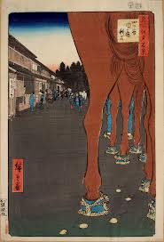 Traditional straw foot coverings for horses- as seen in this unique perspective of Edo. From Hiroshige Ando`s set of woodblock prints of the 100 Famous Spots in Edo.