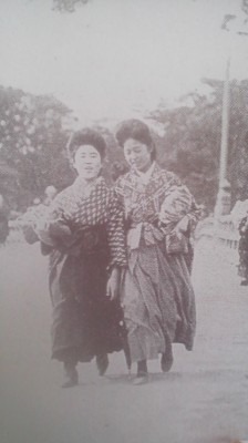 Female students in Tokyo (near the Benkeibashi Bridge) in the early 1910`s