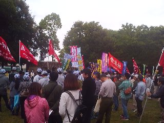 May Day 2014 in Tsukuba`s Centrl Park (Chuo Koen)- the rain let up just in time for the gathering- and the speeches- to get underway.