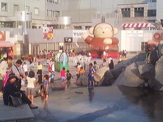 Children at play at the Tsukuba Imternational Festival held in and around the Tsukuba Center Complex (Designed by  renowned architect Isozaki Arata)