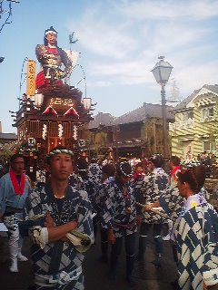 October 11, 2014- Each of the 14 neighborhoods that make up the old town of Sawara has their own float (DASHI) upon which sits a large image of a tradional deity or hero. Each neighborhood also has its own costume and festival music