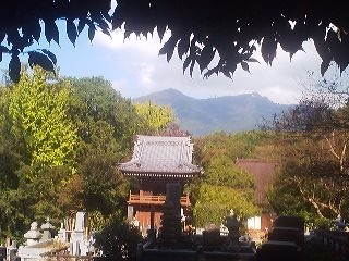The view of Mt. Tsukuba from the the Fumon-Ji Temple ( October 2014)- from the almost completed new Main Hall turn to the right and climb the stairs into the cemetery for this vista