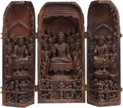 Nationa Treasure- Three-part niche with various Buddhist figures made in Tang China and brought over to Japan by Kukai