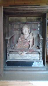 Typical Daishi-Sama image (of Kukai) found in a small wooden outdoor hall in the Tsukuba area.